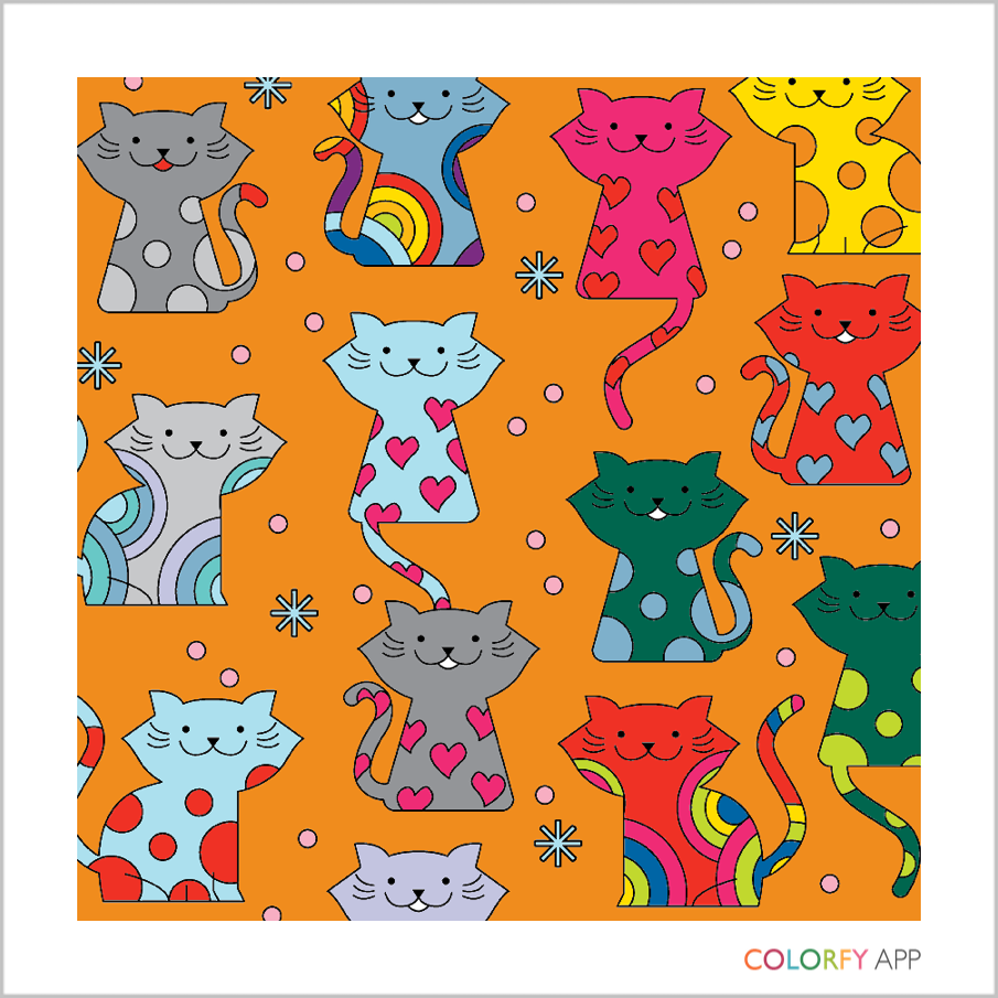 Pattern of cats in assorted colours