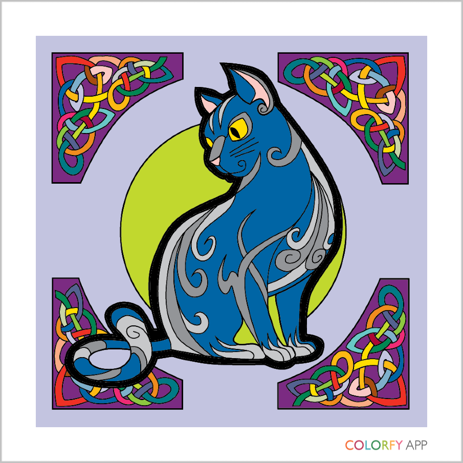 A cat in sky colours surrounded by rainbow celtic knots